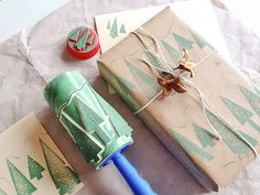 Use a DIY stamp roller to create easy wrapping designs.