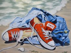 "Saatchi Art Artist Janet Bendyna; Painting, ""ALL STAR CHUCKS"" #art"