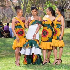 HOW TO WEAR AFRICAN BRIDESMAID DRESSES IN 2021? African Traditional Wear, African Traditional Wedding Dress, African Fashion Dresses, African Dress, Pedi Traditional Attire, African Bridesmaid Dresses, Shweshwe Dresses, Fashion Gallery, African Beauty