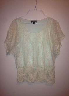 Buy my item on #vinted http://www.vinted.com/womens-clothing/other-tops/19805283-iz-byer-cream-green-lace-top