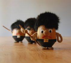 Vintage Wooden Viking Figurines - Set of 3 Fierce Fellows. $42.00, via Etsy.