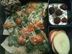 brown rice tortillas topped with spinach, raw milk cheese & tomatoes from our garden (5 min. in oven at night to melt cheese), whole milk yogurt with vanilla, stevia, chia seeds & frozen raspberries, apple slices with Sunbutter & granola bar from PureFood2U.com