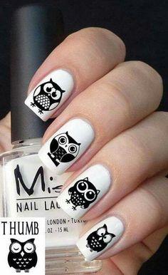 adorable owl nail art diy idea art Source by FabArtDIY Owl Nail Art, Owl Nails, Funky Nail Art, Nail Art Diy, Minion Nails, Nail Designs 2015, Pretty Nail Designs, Lace Nail Design, Black And White Nail Designs