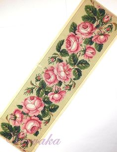 A Fabulous Berlin WoolWork Rose Border Pattern Produced By A Philipson In Berlin Border Pattern, Pattern Design, Berlin, Cross Stitch Rose, Diy Flowers, Floral Tie, Watercolor Art, Cross Stitch Patterns, Decoupage