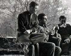 Major Richard Winters, Captain Lewis Nixon, and Lieutenant Harry Welsh in Austria, 1945