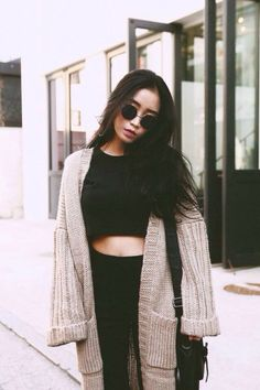 Oversized cardigan and crop top