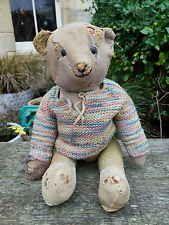 LOVED OLD VINTAGE ANTIQUE BALD MOHAIR ENGLISH TEDDY BEAR CIRCA 1910