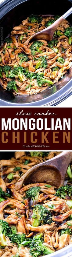 Slow Cooker Mongolian Chicken smothered in the most irresistible sauce is my Go-To slow cooker meal and way better than takeout! via @carlsbadcraving