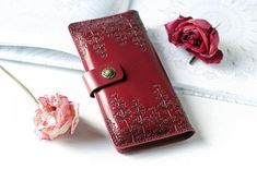 Red Leather Wallet Long Vertical Wallet for Women Ladies