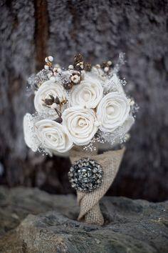 balsa wood bouquet, perfect for a winter wedding