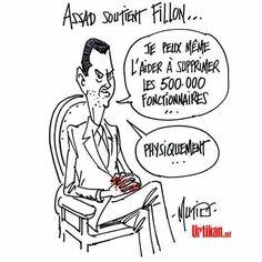 Mutio (2017-01-10) France: Fillon ..... Présidentielle : Assad embarrasse Fillon -  Dans une interview à plusieurs médias français, le président syrien a salué la position de François Fillon sur la Syrie et assuré qu'il s'il «met en application ce qu'il dit ce sera très bien». En savoir plus - source : Le Parisien  http://www.leparisien.fr/politique/assad-embarrasse-fillon-10-01-2017-6546939.php