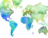 Love this drippy world: Watercolor World Map- It's  a Blue Blue World. $25.00, via Etsy.
