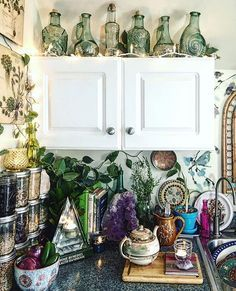A lovely kitchen corner filled with crystals and tea