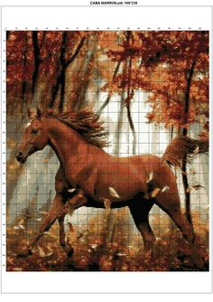 Cross stitch running horse