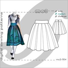 Deep-Pleated Skirt with Shaped Waistband/ Digital PDF Sewing Patterns for by mc2patterns