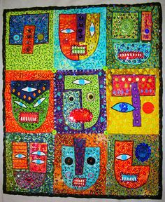"Jon Stucky, 9x Guardian Stucky Outsider Folk Art ""Quilt""    21x25"" heavily embellished"