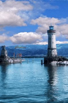 Lake Constance - Lindau Harbour entrance with its characteristic landmark, the lion sculpture and the lighthouse - Germany