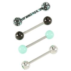 14G Steel Mint Splatter Tongue Barbell 4 Pack Hot Topic ($13) ❤ liked on Polyvore featuring jewelry, beading jewelry, bead jewellery, beaded jewelry, steel jewelry and mint green jewelry