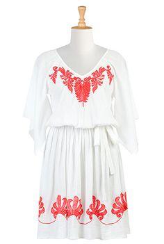 I <3 this Kimono sleeve crinkle cotton blouson dress from eShakti