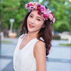 86c778452a1228 2 sztuk Ręcznie Kobieta Dziewczyny Daisy Flower turquoise Flower Korona  Pałąk Tkaniny Kwiat Wieniec Wesele Włosów