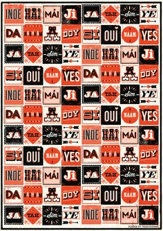 handprinted screen print of the word YES written in nine different languages from the Telegramme Studio via chic-type