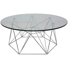 Nuevo Living Kayt Coffee Table in Chrome and Tempered Glass Coffee Chairs, Black Coffee Tables, White Side Tables, Glass Top Coffee Table, Round Coffee Table, Modern Coffee Tables, Round Tables, White Coffee, Coffee Table Inspiration