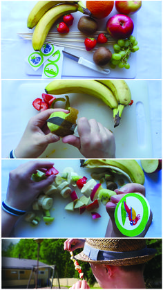 Hedelmävarras | kattaus | lasten | juhlat | askartelu | syntymäpäivät | synttärit | askartelu | fruits | setting | DIY ideas | birthday | party | kids | children | kid crafts | crafts | Pikku Kakkonen