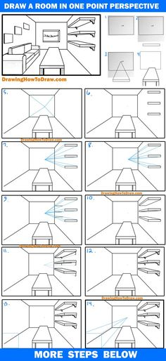 One Point Perspective Room, 1 Point Perspective Drawing, Perspective Art, Interior Architecture Drawing, Drawing Interior, Interior Design Sketches, Drawing Lessons For Kids, Drawing Ideas, Drawing Tutorials