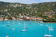 Sailboats off St Thomas Island - Virgin Islands -- Gorgeous!