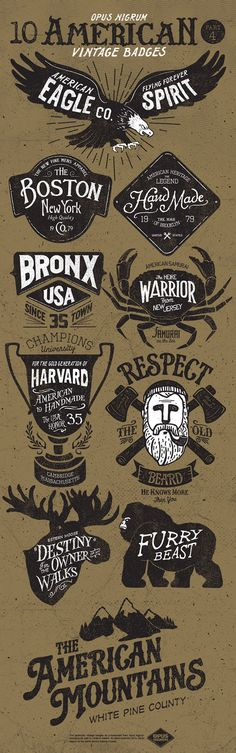 American Vintage Badges Part 4 by OPUSNIGRUM ., via Behance