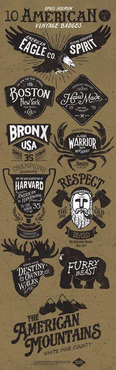 American Vintage Badges Part 4 by OPUSNIGRUM ., via Behance