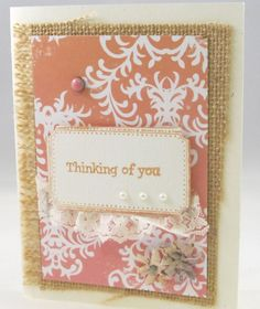 Thinking of You  Handcrafted Card  Pink and by PrettyByrdDesigns, $3.50