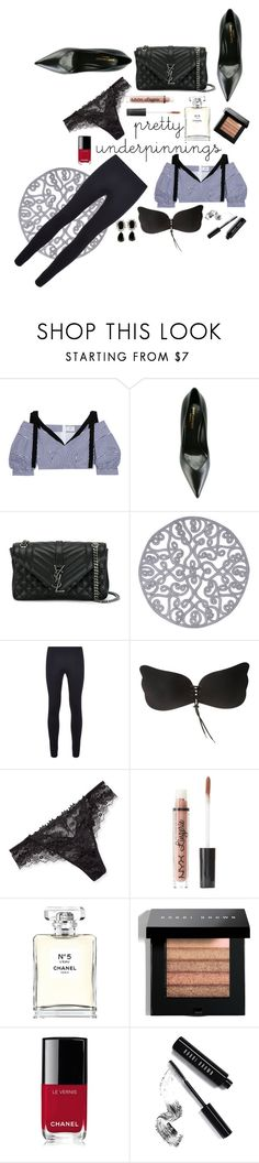 """Pretty underpinnings"" by anjanette-ramirez ❤ liked on Polyvore featuring Erdem, Yves Saint Laurent, Juliska, Helmut Lang, Lise Charmel, Charlotte Russe, Chanel and Bobbi Brown Cosmetics"