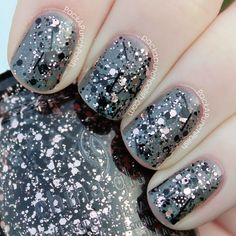 China Glaze's Razzle Me Dazzle Me over Immortal - light pink and black glitters!