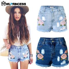 Gender: Women Item Type: Shorts Fit Type: Straight Decoration: Embroidery Decoration: Hole Decoration: Pockets Decoration: Tassel Pant Style: Regular Pattern Type: Floral Brand Name: Owlprincess Style