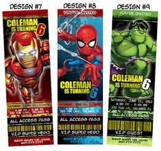Super Hero Squad Boy Birthday Party Ticket Invitations - Printable on Etsy, $12.38 AUD