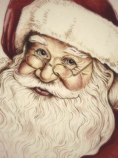 Santa sketch with a little bit of color Christmas Scenes, Noel Christmas, Father Christmas, Vintage Christmas Cards, Christmas Pictures, Xmas, Santa Paintings, Christmas Paintings, Santa Pictures