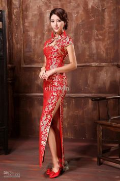 Wholesale Cheongsam Dress - Buy Vintage Wedding Dress Cheongsam Satin Lace Slim Sheath Chinese Cheongsam High Slits Hole In front Ankle Length Party Pageant DrPreparing Chinese New Year Outfit With Thia 50 Beautiful Red Dress IdeasChinese New Year wi Beautiful Red Dresses, Beautiful Asian Women, Oriental Fashion, Asian Fashion, Vestido Cheongsam, Cheongsam Wedding, Cheongsam Modern, Mandarin Dress, Style Chinois
