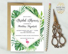 Tropical Greenery Bridal Shower Invitation / Flamingo Bridal