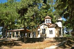 Timios Stavros Chapel sits on the top of a small hill that is Thermi Grove. Thessaloniki, The Locals, Greek, Walking, Mansions, House Styles, City, Modern, Top