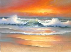 Landscape Art Quilts, Watercolor Landscape, Seascape Paintings, Landscape Paintings, Ocean Art, Beautiful Paintings, Vand, Pictures, Beach Portraits