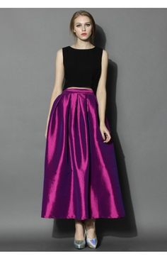 8f02a77c3eded7 La Diva Pleated Maxi Full Skirt in Violet - Bottoms - Retro, Indie and  Unique Fashion
