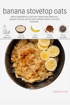 These banana stovetop oats are delicious and easy to make! We love to serve these on the weekend. This oatmeal recipe will be a hit and you can find more vegan breakfast ideas in the Plant Ahead Meal Prep Program. Banana Oatmeal Recipe, Healthy Oatmeal Recipes, Vegan Oatmeal, Vegan Recipes, Cooking Recipes, Homemade Oatmeal, Oatmeal Cake, Cinnamon Oatmeal, Health Recipes