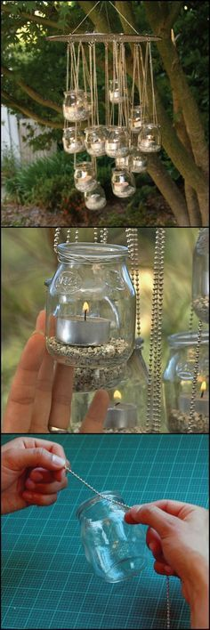 Make A Garden Chandelier From Mason Jars  http://theownerbuildernetwork.co/bxh3  Light up your yard with this DIY garden chandelier! This also makes a perfect lighting idea for those who don't have the option of installing a fixture. And when you're done, you can remove them and store until next time.