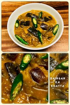 Baingan ka khatta also known as brinjal curry, aubergine curry or eggplant curry, is a classic vegetarian dish quite popular in India. It is a dish in which eggplants are cooked in tamarind sauce. Recipe Tasty, Homemade Recipe, Indian Food Recipes, Vegan Recipes, Ethnic Recipes, Eggplant Curry, Curry Food, Tamarind Sauce, Vegetarian Dish