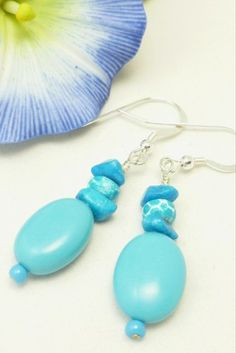 Blue Turquoise Oval Nugget Beaded Sterling Earrings
