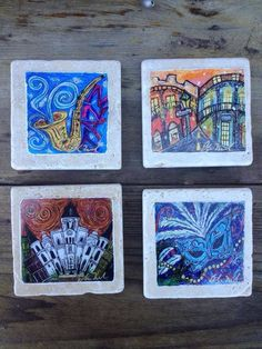 Set of four New Orleans coasters by ellenmccordarts on Etsy