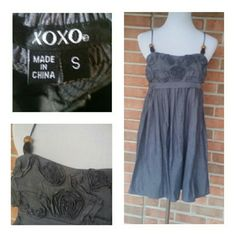 ONE HOUR SALE!!! XOXO Cute Little Dress Cute as can be little dress by XOXO. Size small and beautiful little embellished material swirls on front. See pics for details. Cotton has look of denim XOXO Dresses