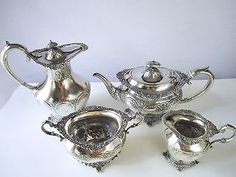 Antique Tea Set Silver Plate Chocolate Pot Coffee Urn Water Pitcher Antique 8 •…
