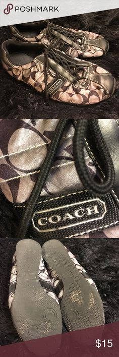 👟Coach Kirby brand sneakers 👟 Coach Kirby brand sneakers. Preloved but in good shape. Nice  satin fabric  of black and gray and black leather details. Last picture shows a little bit of separation from the sole.  Very cute Coach Shoes Sneakers